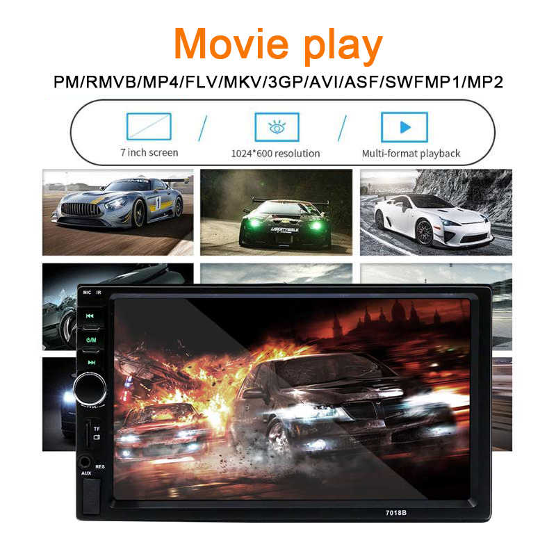 """7 """"بوصة 2 الدين مرآة ربط السيارات راديو دعم بلوتوث ستيريو FM TF USB العالمي راديو السيارة MP5 MP4 لاعب HD شاشة تعمل باللمس"""