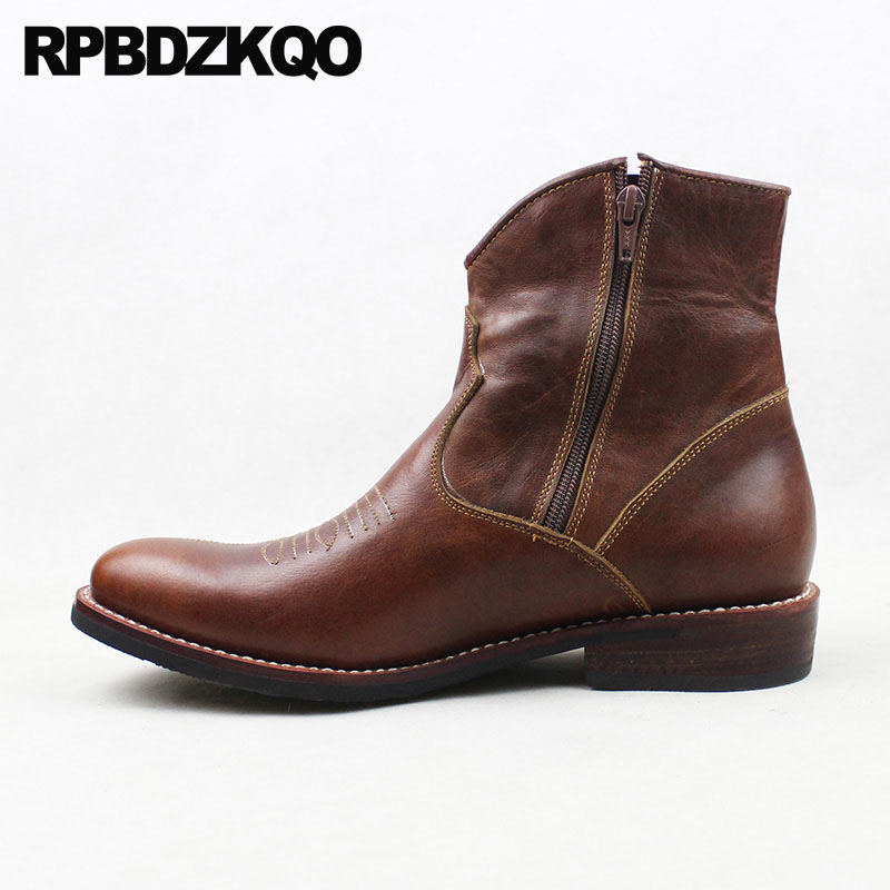Western Short Brown Full Grain Leather 2018 Chunky Cowboy Boots Mens Genuine Designer Fall Luxury Zipper Ankle Cowgirl Shoes