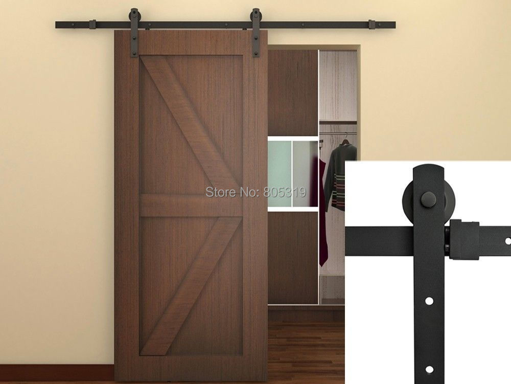 7.5FT Black Steel Rustic American Style Sliding Barn Door Hardware,16