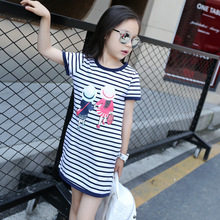 Girls Dress 2019 Summer new Cartoon Striped Straight Dresses O-neck Short sleeve cotton Kids Clothes 3-12 Baby Girl Clothes цена
