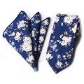 Mantieqingway Marca Laços para Homens Conjuntos Laço Floral Lenço de Algodão Algodão de Moda Presentes de Casamento de Correspondência Dos Homens Magros Gravata Conjunto