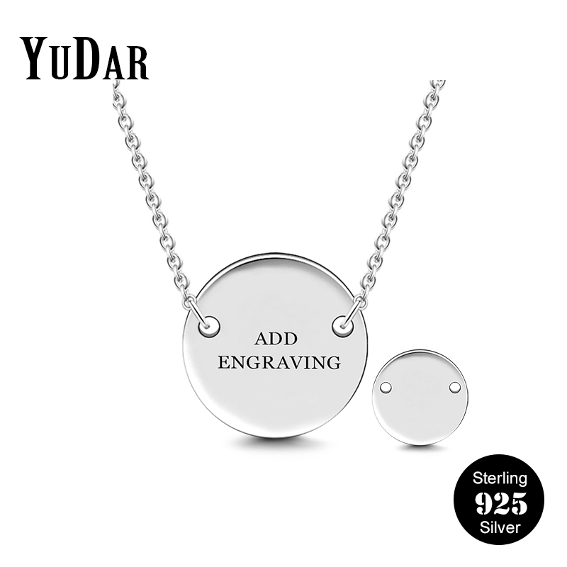 HACOOL Personalized 925 Sterling Silver Custom Message Engrave Dog Tag Men Necklace Pendant