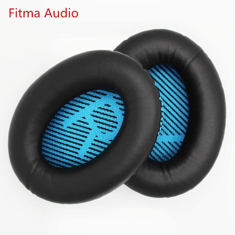 Remplacement Oreille tapis Coussins Pour Bose QuietComfort 25 QC25 QC2 QC15 QC35 SoundTrue AE2 AE2i AE2w Casque (Noir avec bleu)