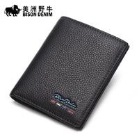 Bison Short Male Leather Wallet Korean Head Layer Cowhide Wallet Card Wallet Vertical Multi Youth Wallet