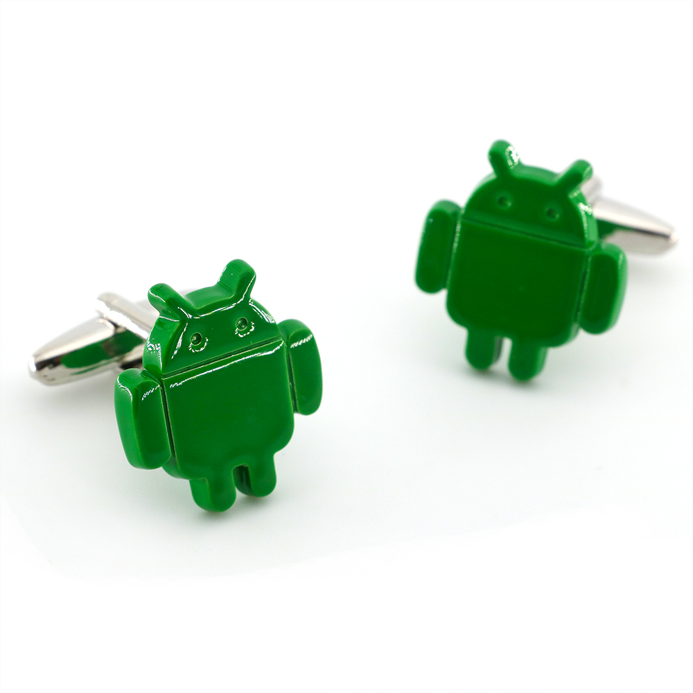 Men's Android Cuff Links Copper Material Green Color