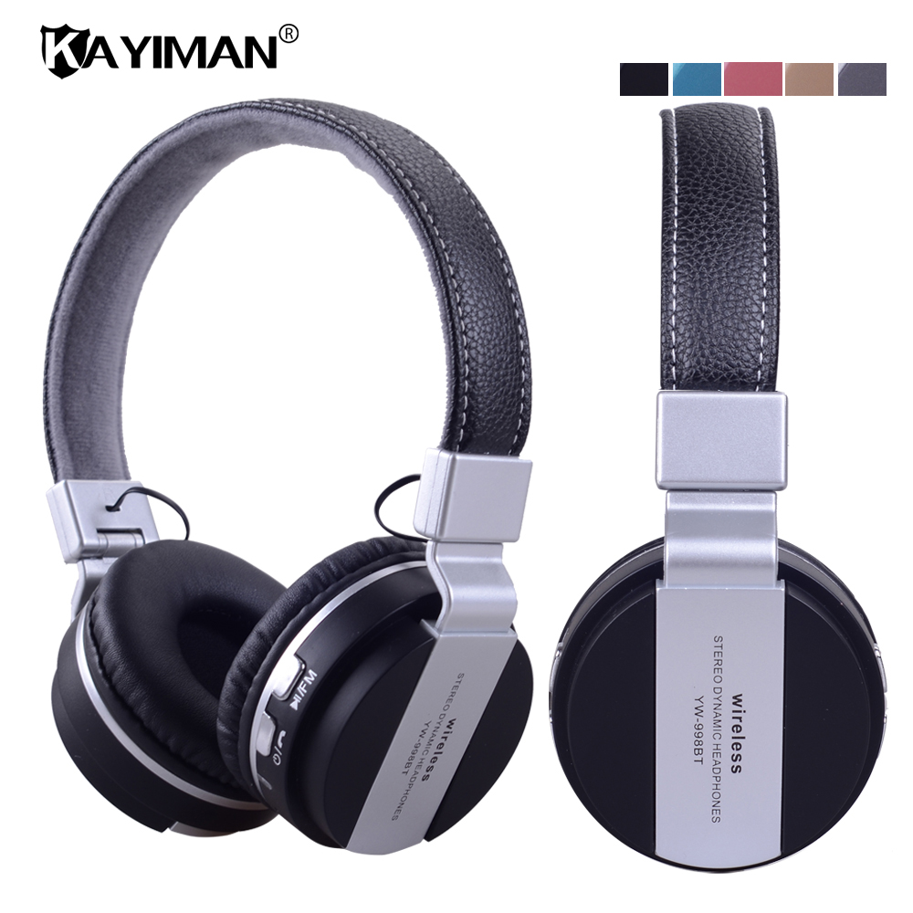 Bluetooth Stereo Headphone Wireless Folding Headphones Built-in Mic TF MP3 FM Radio Powerful Bass Over-ear Headphones KAYIMAN qinyin md 99 stereo headphones mp3 player w tf fm black