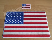 11.6 inches America flag Embroidery Patches for Jacket back vest Motorcycle Biker 29.6cm *18.5cm white Sided