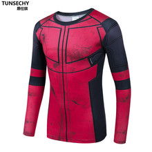 Moto Fun Deadpool 3D Printed T-shirts Men Cosplay Costume Display Long Sleeve Compression Shirt Fit Gym Clothing Sports Tops Mal