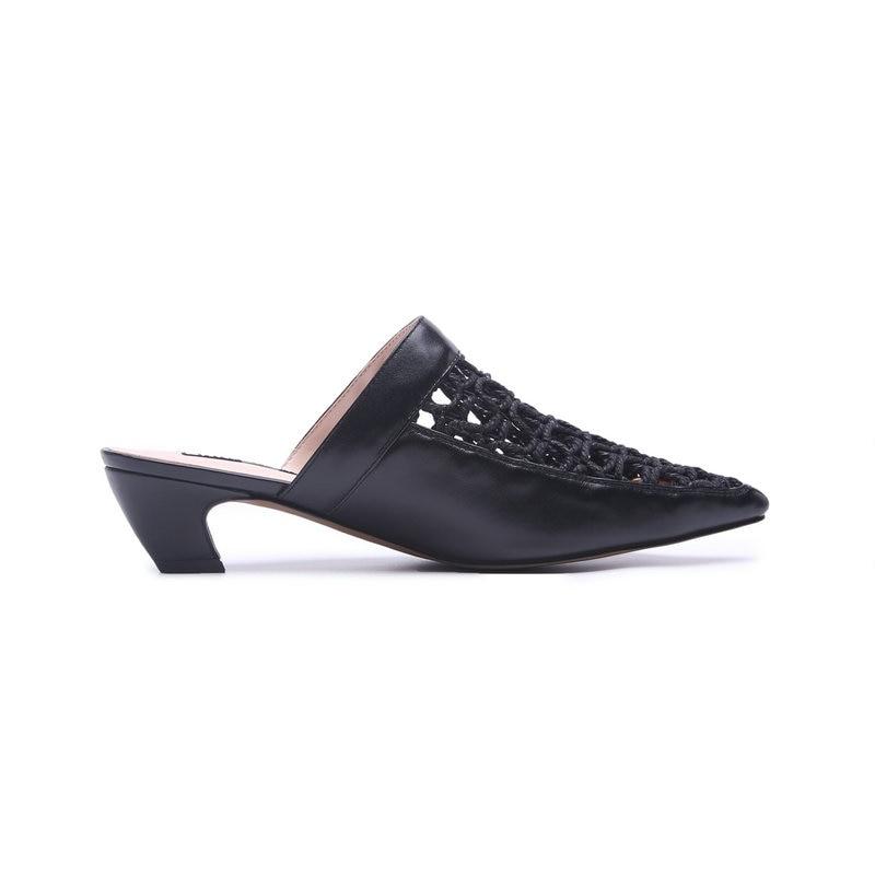 Haute Mujer Diapositives Bout En Chaussures Vache Noir Femme Cuir Mules Découpes blanc Confortable Talons Sandales Pointu Pantoufles Zapatos qYwPXpw