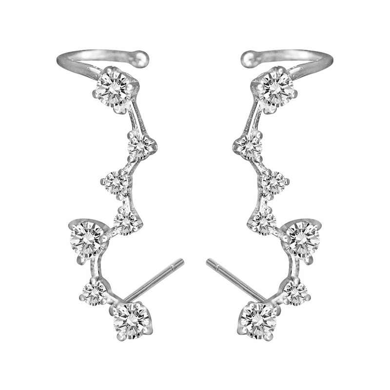 Flyleaf 100% 925 Sterling Silver Cubic Zirconia Big Dipper Stud Earrings For Women Romantic Lady Fashion Jewelry