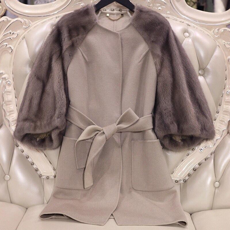 Arlenesain custom visone delle donne splicing a doppia faccia cappotto di lana. 059