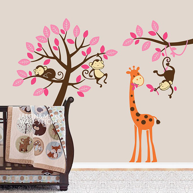 Cartoon Tree Wallpaper Decals Zoo Monkey Giraffe Wall Sticker Nursery Kids Baby Room Bedroom Play 200 250cm Home Decoration In Stickers From