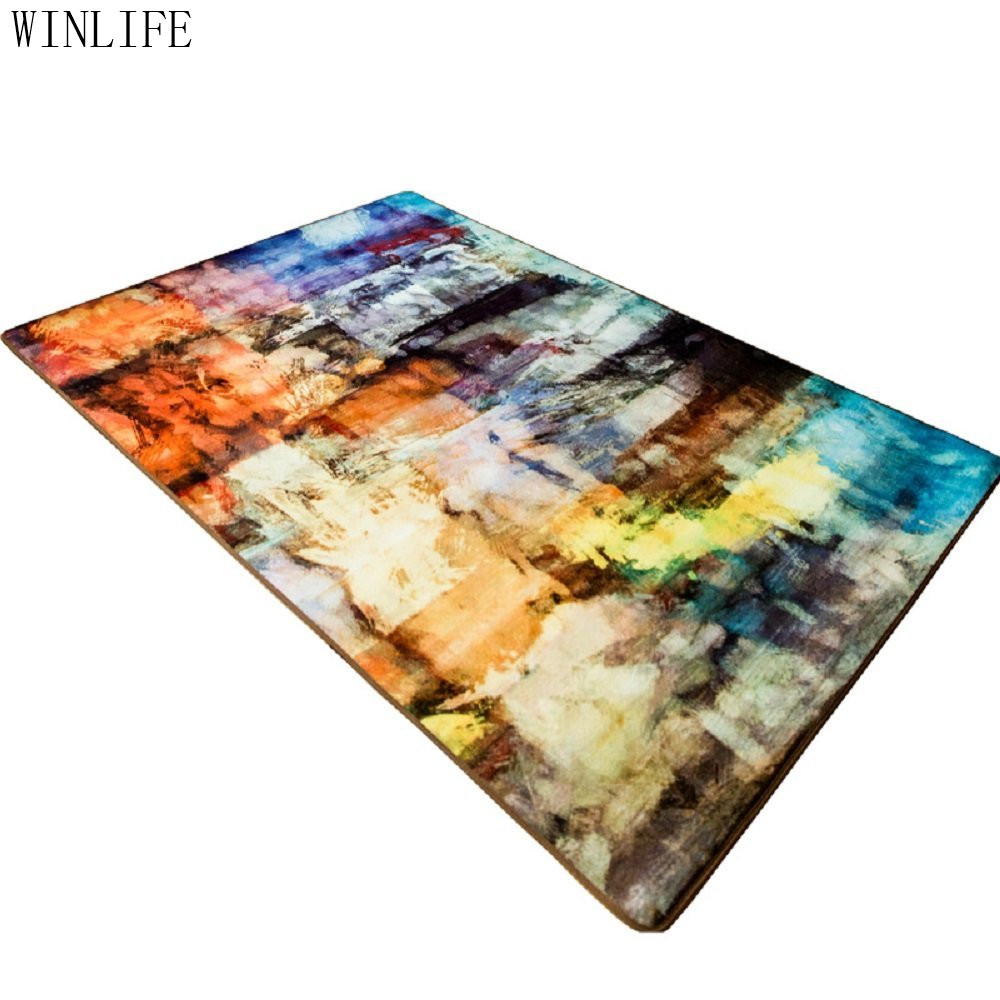 WINLIFE mode Art abstrait salon tapis court en peluche chambre tapis