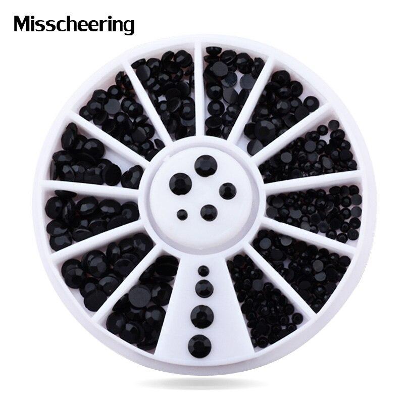 1 Wheel Mix Sizes 3d Nail Art Decorations Black Rhinestone