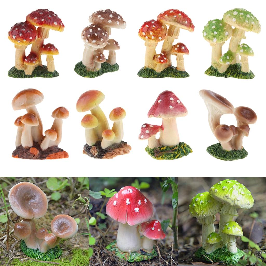 8pcs Simulation Resin Small Mushroom Fairy Garden Decor Mushroom