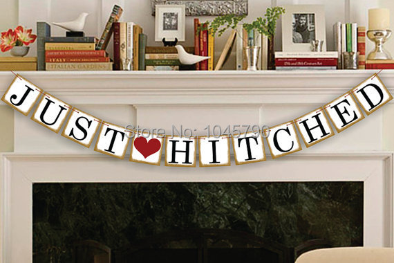 Free Shipping 1 X Gold Side JUST HITCHED Bunting Banner Wedding Photo Props Wedding Party Decoration Supplies