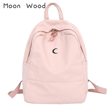 Moon Wood Candy Color Canvas Women Casual Backpack Sweet Printing Girls School Bags Laptop Bagpack mochilas mujer 2019