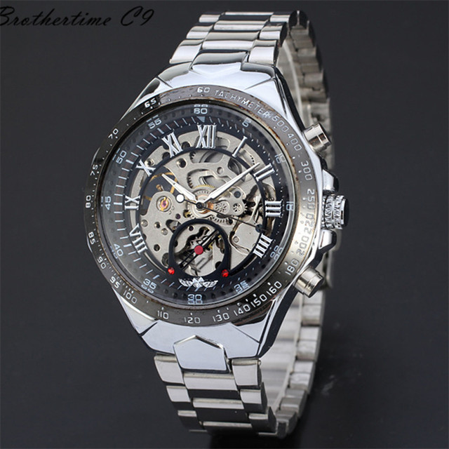 Fantastic 2016 Stainless Steel Metal Automatic-watch Russian Skeleton Automatic Watches For Men Wrist Watch Free Shipping