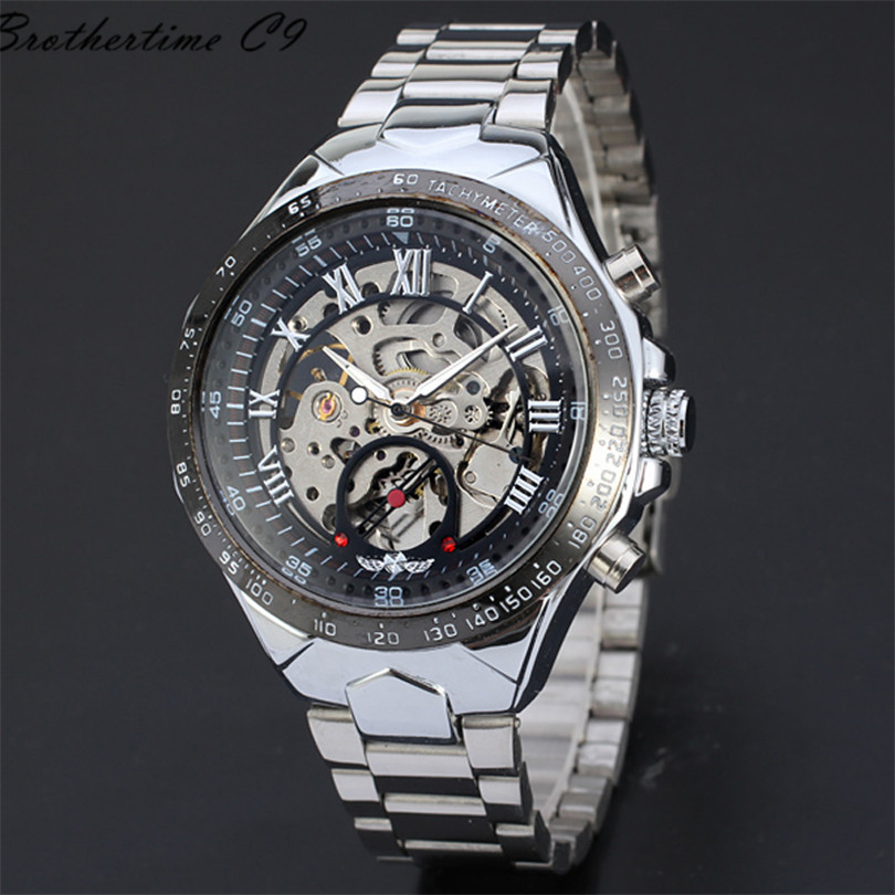 Fantastic 2016 Stainless Steel Metal Automatic watch Russian Skeleton Automatic Watches For Men Wrist Watch