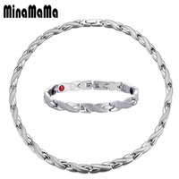 Fashion Magnetic Bracelet Necklace for Men Women Stainless Steel Germanium Jewelry Sets Chain Health Energy Jewelry Sets
