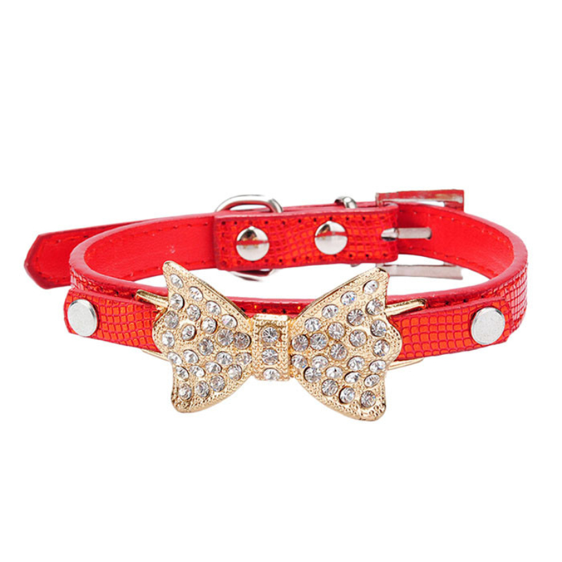 PU Leather Take Zinc alloy Adjustable Leather Dog cat Collar Bling Crystal Bowknot Pet Collar Puppy Choker Size XS S M