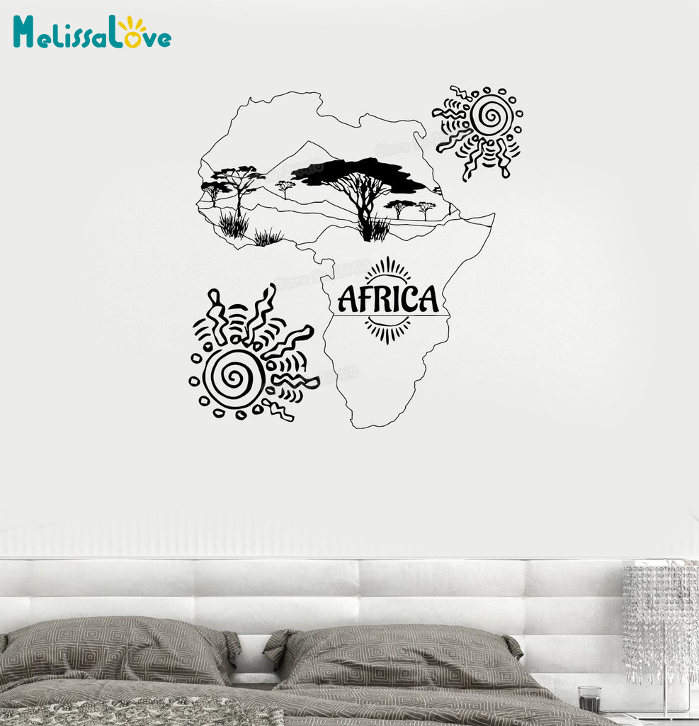 New Design Wall Decal Africa Map Sun Trees Nature Landscape Savannah Mainland Vinyl Sticker Home Decor Art Unique Gift YY712