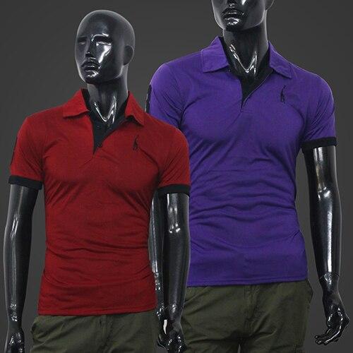 Горячие мужские Летом Палевый Вышивка Тонкий Polo Tee Топы С Коротким Рукавом Рубашки 5JER 7FLE BDPR