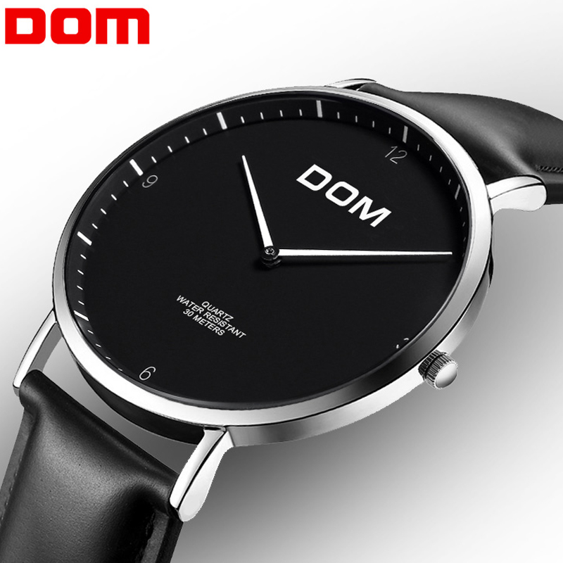 Watch Men Luxury Brand Wrist Sport Male Clock DOM M-36 Leather Quartz Watches Men's Business Watches relogio masculino Black