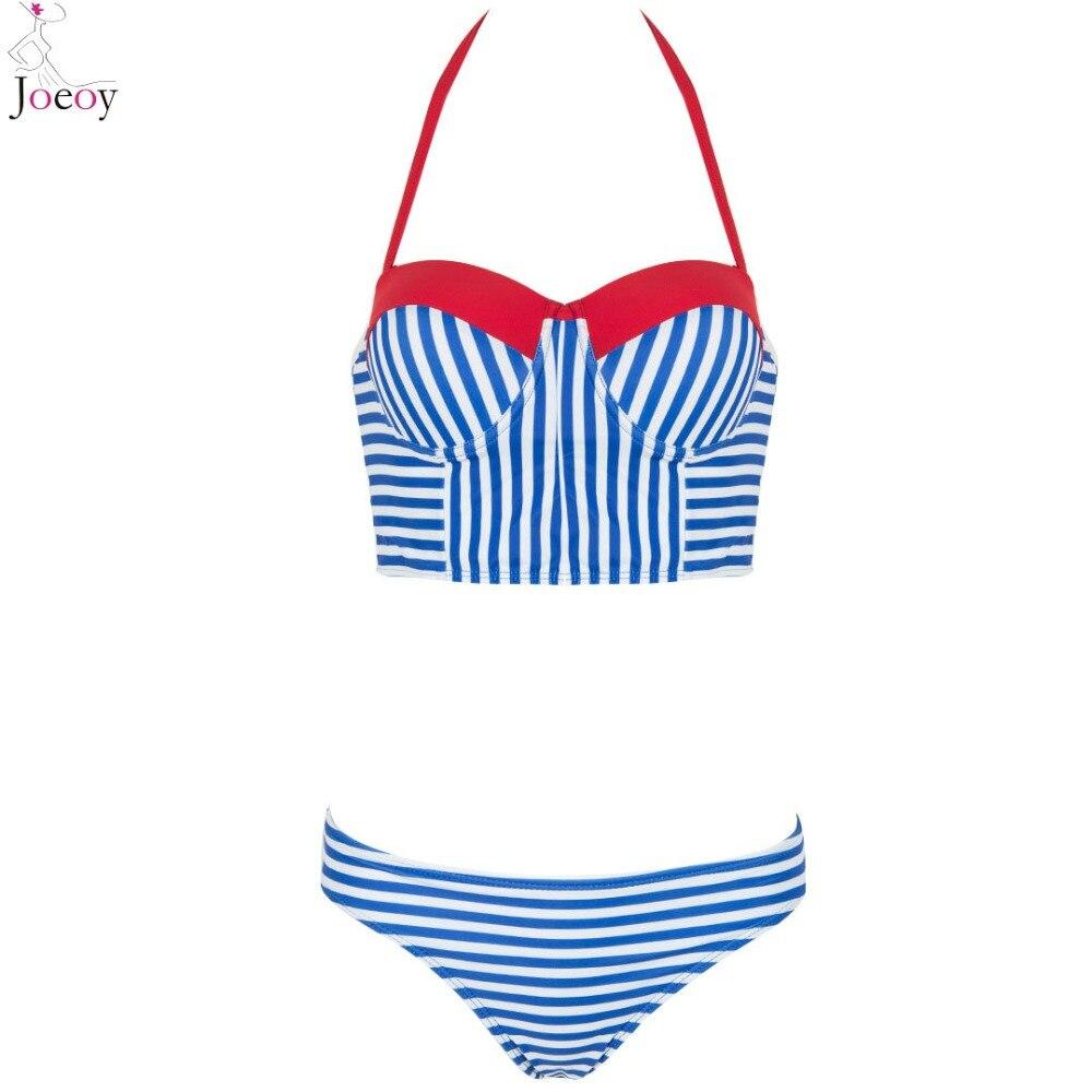 Blue Halter Stripe Contrast Patchwork Padded Cute Bikini Top And Bottom Sexy Swimsuit 2016 New Swimwear Women Beach Bathing Suit