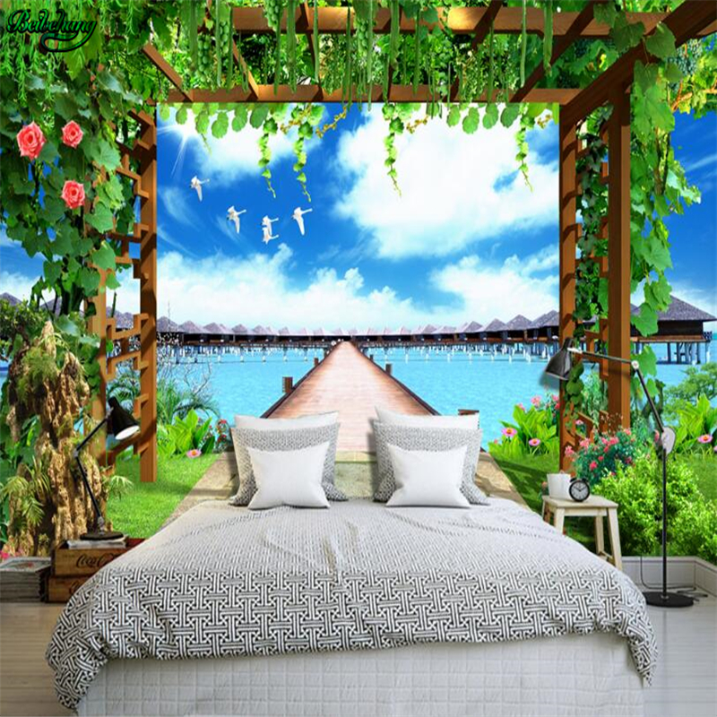 beibehang large custom beach flower frame 3d tv living room bedroom home decorationchina