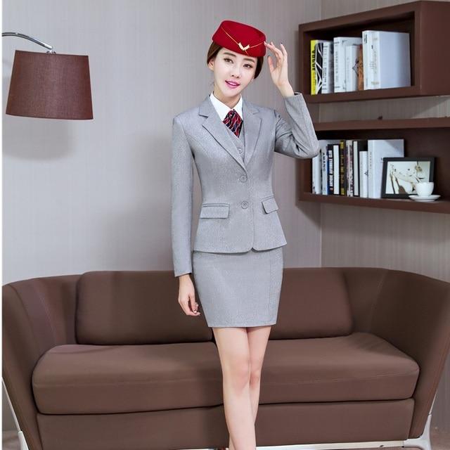 Wanita Abu-abu Blazer Wanita Bisnis Setelan dengan Rok dan Jaket Set Pakaian  Kerja Kantor 0ae36614f3