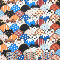 1 Yard High Grade Japanese Style Cats Printed 100% Cotton Fabric For Kids The Kimono Pajamas Handbag Sewing DIY Materials