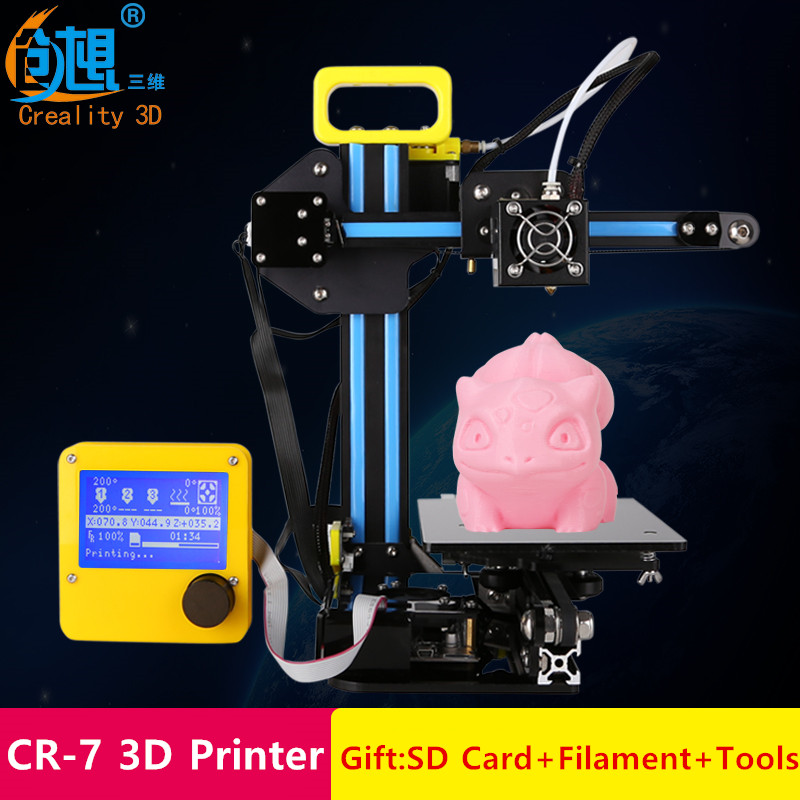 Newest Mini Version Desktop Level Creality CR 7 3D Printer With LCD Display Portable Cheap DIY