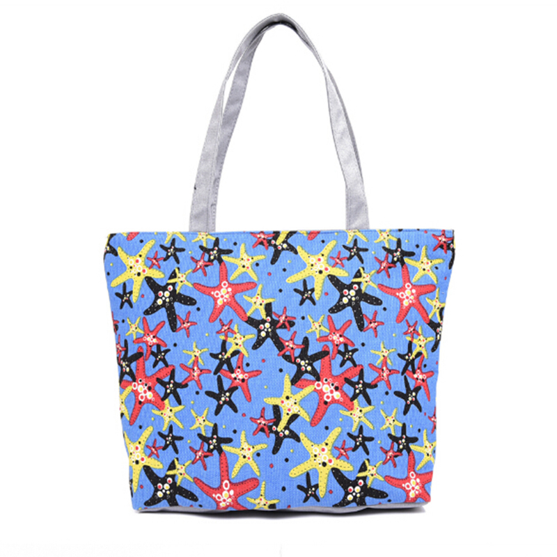 Women's Handbags Cartoon Animal Prints Top-Handle Bags Preppy School Totes Girls Lovely Starfish Canvas Handbag