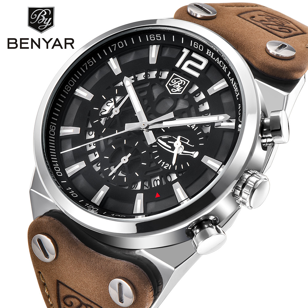 Benyar Men Watches Top Brand Luxury Male Leather Waterproof Sport Quartz Chronograph Military Wrist Watch Men Clock montre homme