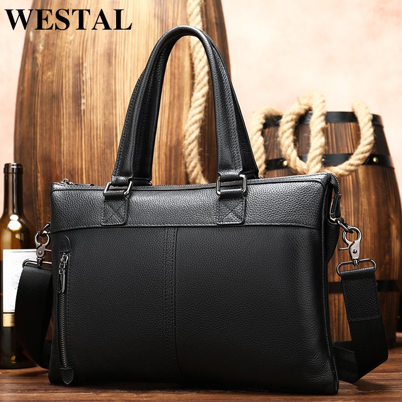 WESTAL Genuine Leather Men's Briefcase Bag 14inch Leather Laptop Office Bags For Men Briefcase Handbag Bag Men's Genuine Leather