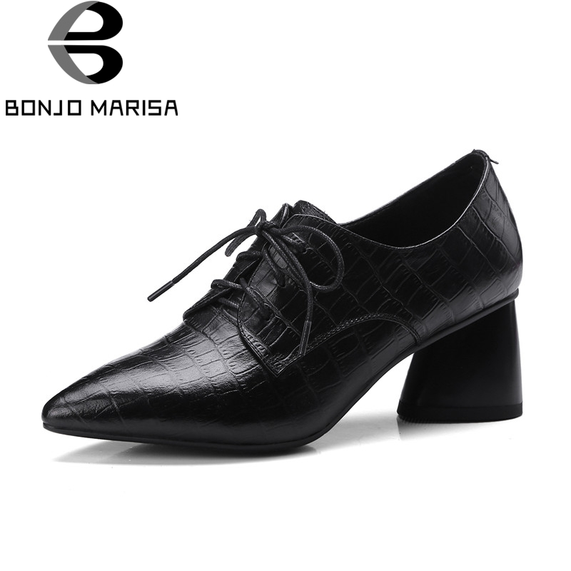 BONJOMARISA large size 33-43 cow genuine leather lace up pointed toe high heels woman shoes office black pumps good quality d knight women pumps fashion plus size 33 43 square toe strange high heels lace up office lady woman shoes black green purple
