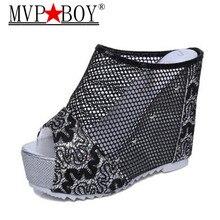 Mvp Boy 2018 Summer Woman Platform slippers Wedge Flip Flops High Heel Slippers Ladies outside Shoes 35-39