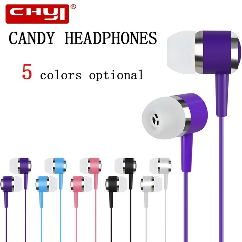 CHYI In-ear Earphone Candy Color Universal Wired Earbuds Music Gaming Headset 3.5mm Earphones For PC Laptop Desktop Iphone 5