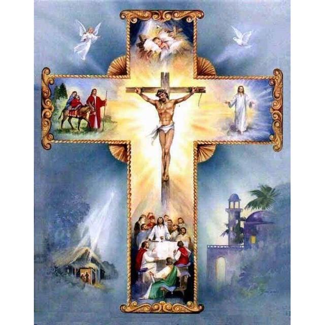 5D DIY Diamond mosaic diamond embroidery Christian Cross Jesus Christ mbroidered Cross Stitch Home decoration Gift 1