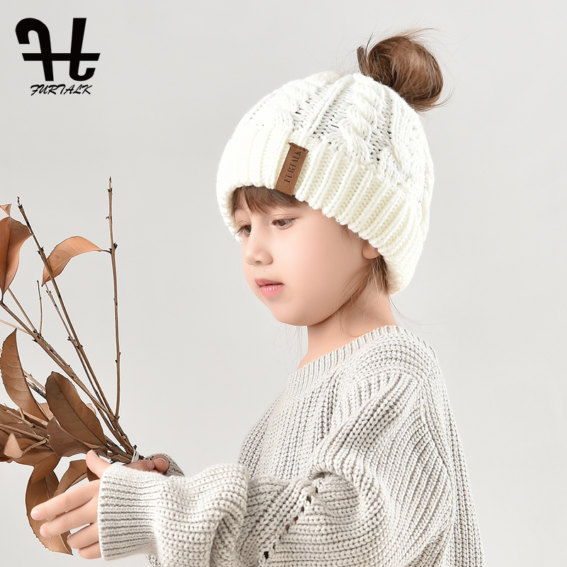 FURTALK Children Beanie Caps Messy Knit Hat for Girls Female Ponytail Hat Chapeu Feminino