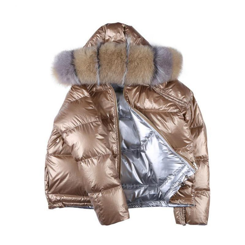 2019 New Winter Thichen Warm   Down   Jacket Women Casual Long Sleeved Hooded Real Fox Fur Collar Short White Duck   Down     Coats   Parkas