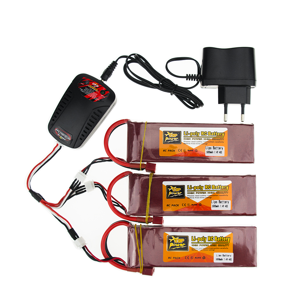 3X RC Drone Batteria 5000mah Lipo 7.4 V Battery 40C XT60 T Plug 2S With Smart Charger 3in1 Cable Set For RC Airplane Quadcopter lipo battery 7 4v 2700mah 10c 5pcs batteies with cable for charger hubsan h501s h501c x4 rc quadcopter airplane drone spare