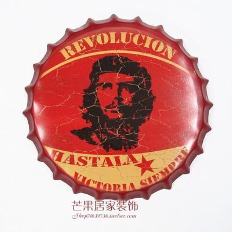 2019 Nieuwe Stijl Revolucion Grote Bier Cover Tin Teken Logo Plaque Vintage Metalen Schilderen Muursticker Ijzer Teken Bar Ktv Winkel Decoratieve 35x35 Cm
