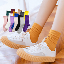 1 Pair New High Quality Womens Girls Casual Striped Candy Colors Cotton Comfortable Harajuku Short Socks Funny Fold