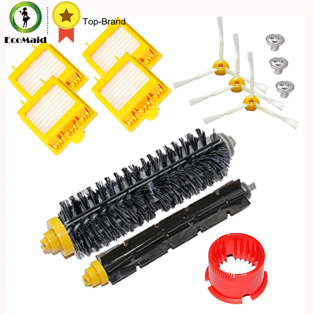 Kit for Irobot Roomba 700 Series Vacuum Cleaner Kit Hepa Filter Side Brush Bristle Brush Flexible Beater Brush Cleaning Tool 3 armed side brush flexible beater brush bristle brush filter for irobot roomba 500 series vacuum cleaner accessory kit