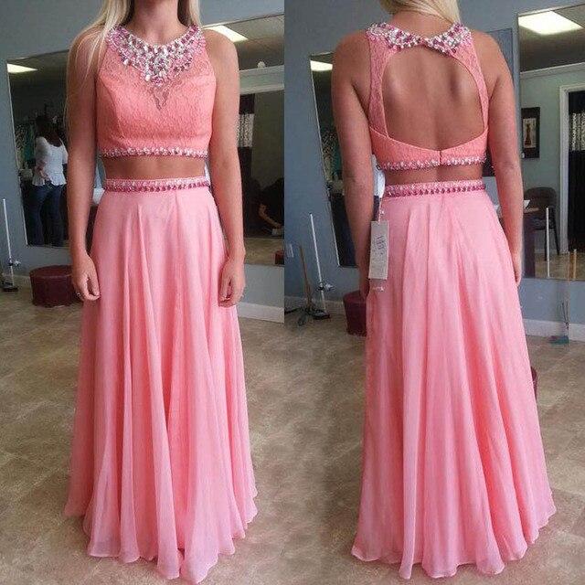 b4496af78d Elegante dos piezas de color rosa prom vestidos largos a line cuello o  cuentas de cristal