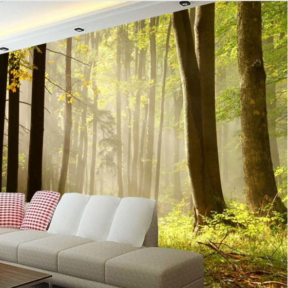 Custom Environmental 3D stereoscopic large mural wallpaper fabric wall paper living room sofa TV background tree Nature light bulb pendant light copper glass restaurant pendant light single pendant light vintage retro abajur american style 2016 new