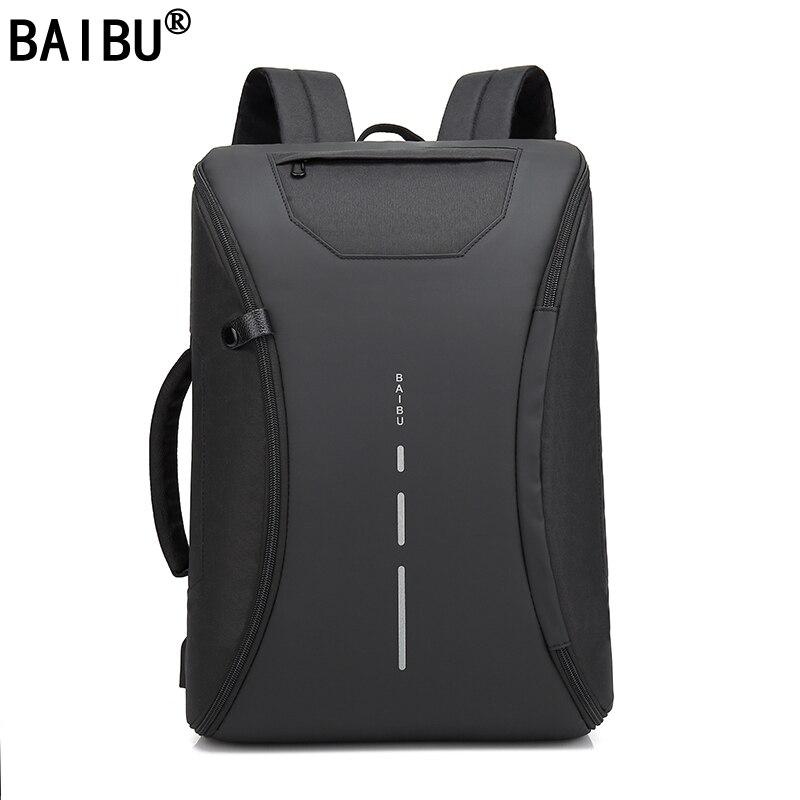 BAIBU Men 15.6 inch Laptop Backpack Anti Theft Backpack Usb Charging Men School Notebook Bag Oxford Waterproof Travel Backpack