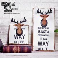 American Retro Antlers Decorated Wall Hanging Clothes Hooks Creative Clothing Store Entrance Door